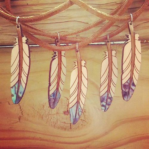 Wooden Abalone Feather Pendant