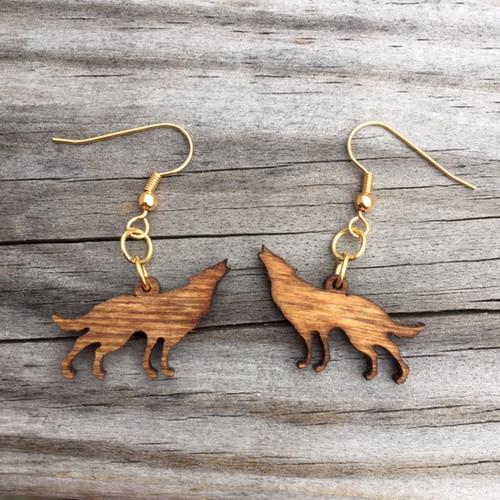 Wooden Wolf Earrings