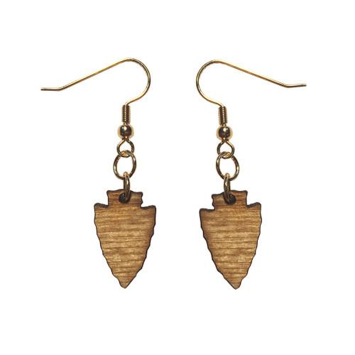Wooden Arrowhead Earrings