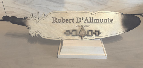 Wooden Feather Nameplate with Times New Roman Font and Title