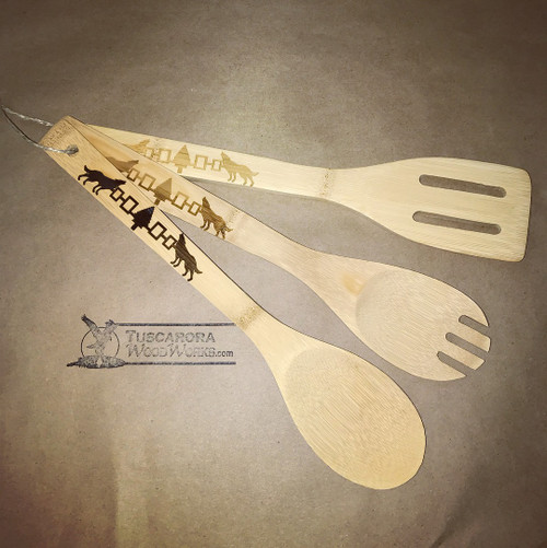 Set of 3 Engraved Bamboo Clan Spoons