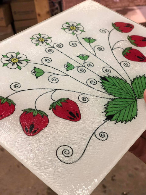 "11"" x 8"" Glass Cutting Board with Strawberries"