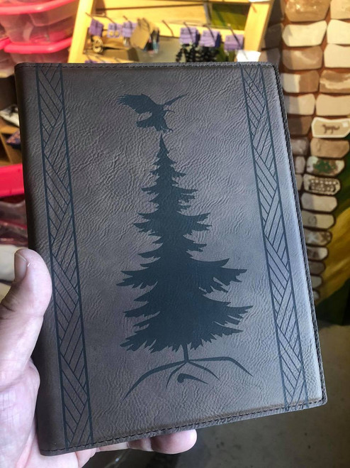 """7"""" X 9"""" Engraved Letherette Portfolio with Wooden Engraved Pen and Notepad"""