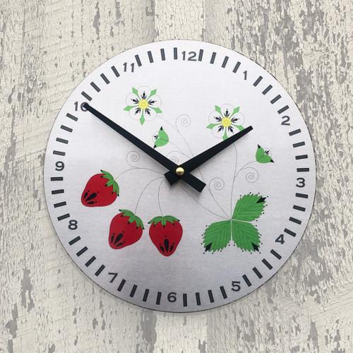 "Strawberry 8"" Aluminum Wall Clock"