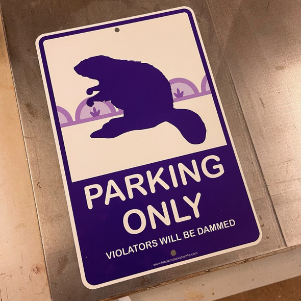 Metal Beaver Parking Sign