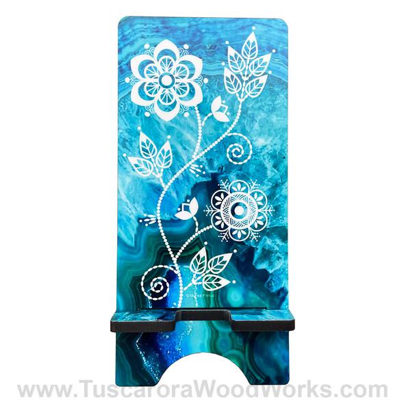 Tuscarora Floral Phone Stand - Blue
