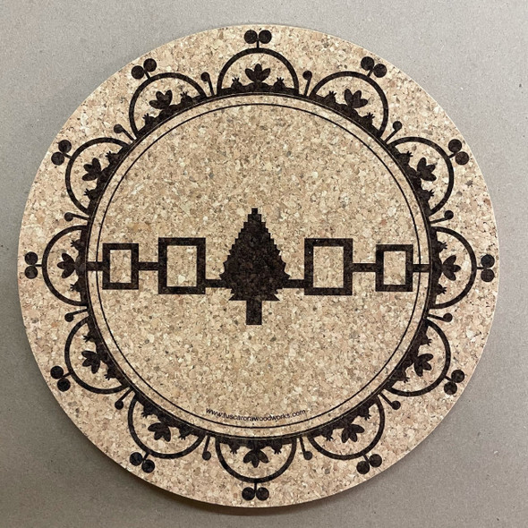Cork Trivet / Hot Plate with Hiawatha Belt and Celestial Domes
