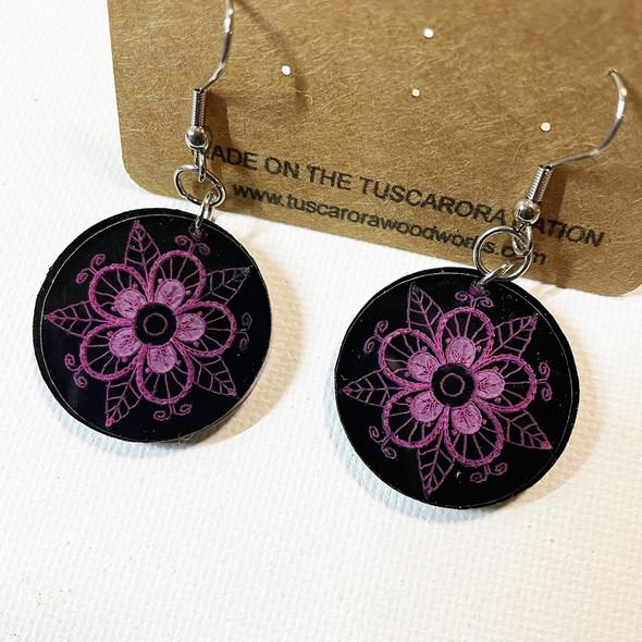 Black Acrylic Tuscarora Flower Earrings