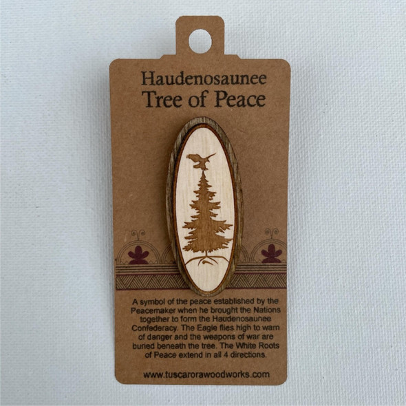Wooden Tree of Peace Pin