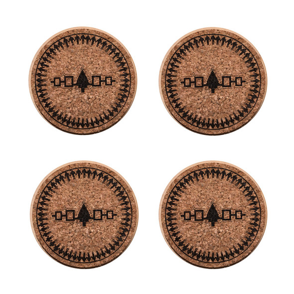 4-Piece Hiawatha Belt Cork Coaster Set