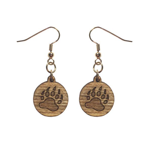 Wooden Bear Paw Earrings