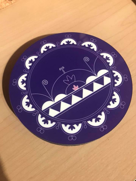 Set of 4 Cork-backed Purple Skydome Coasters