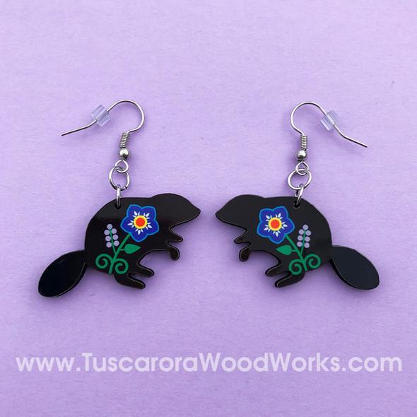 Tuscarora Beaver Flower Earrings