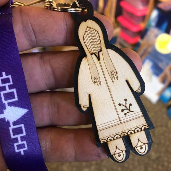 Engraved Corn Husk Doll Key Chain - Female