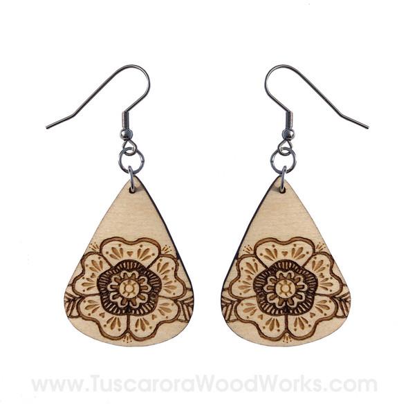 Wooden Turtle Flower Drop Earrings