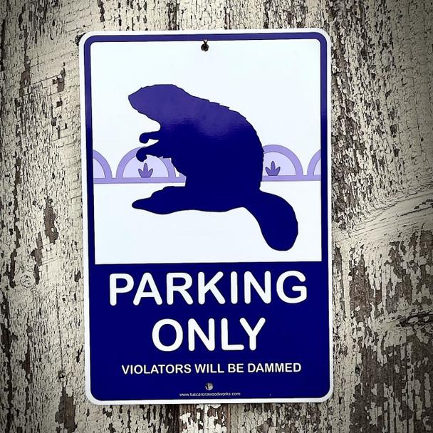Metal Beaver Parking Sign