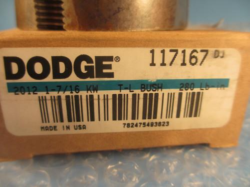 "DODGE 117167, 2012 X 1 7/16, 2012 1 7/16 TAPER LOCK BUSHING BORE SIZE 1-7/16"" KW"