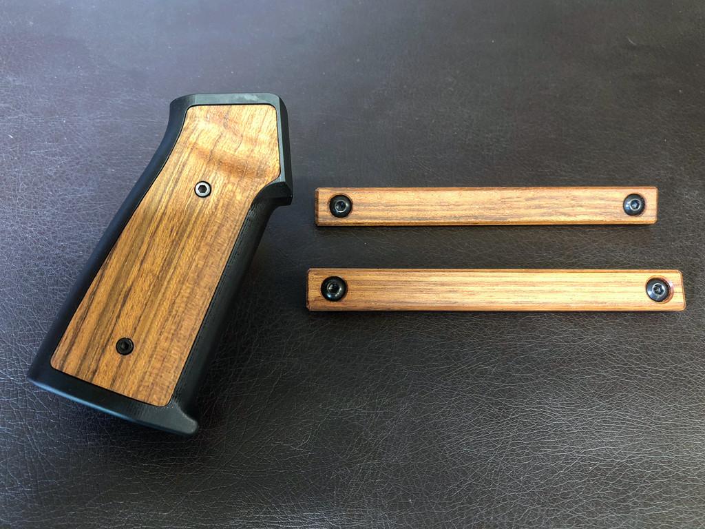 Aluminum/Wood AR Grip & MLOK Handguard Panels - Brazilian Cherry