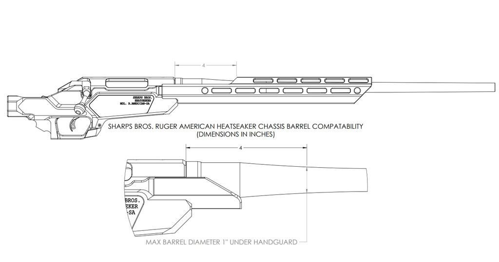 "Heatseeker Chassis w/ 14"" Handguard - Ruger American Short Action"
