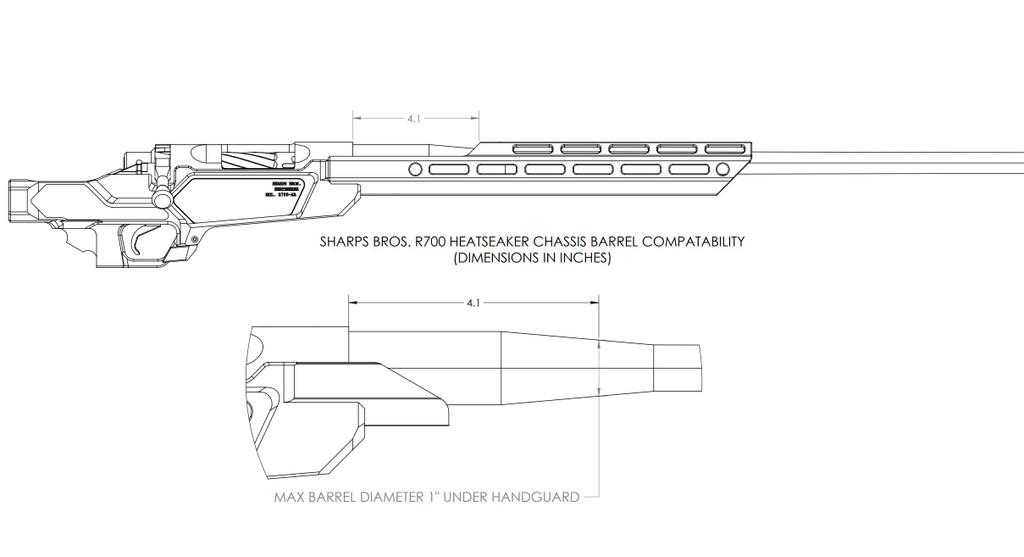 "Heatseeker Chassis w/ 14"" Handguard - Rem700 Pattern Short Action"