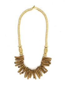 Gold Wood Necklace - Gold/Gold