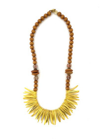 Coconut Wood Necklace - Brown/Yellow