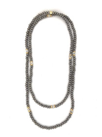 Long Wrap Necklace - Gray/Gold