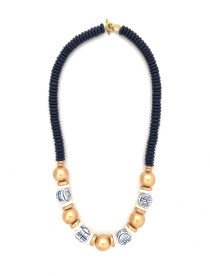 Chinoiserie Classic Bead Necklace - Navy/Gold