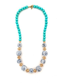 Chinoiserie Classic Bead Necklace - Aqua