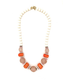 Classic Bead Necklace - White/Orange/Lt Pink