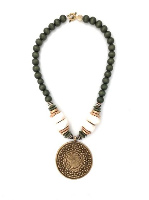 Medallion Necklace - Green/White/Bronze