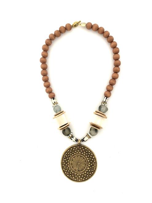 Medallion Necklace - Natural/White/Bronze