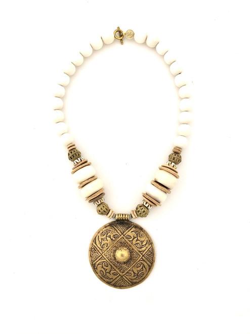 Medallion Necklace - White/Bronze