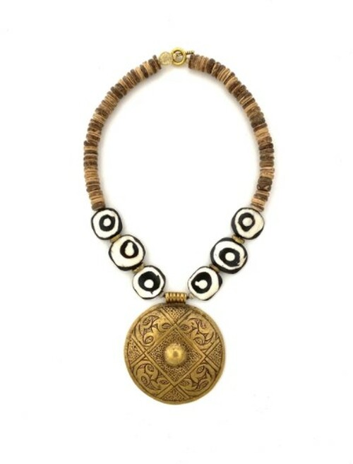 Medallion Necklace - Nat/BW/Bronze