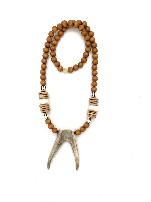 Antler Points Necklace - Nat/White