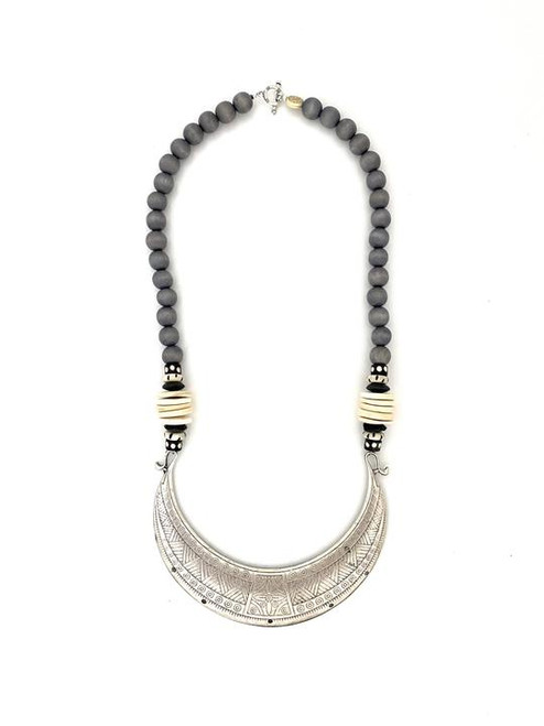 Tribal Collar Necklace - Gray/Silver