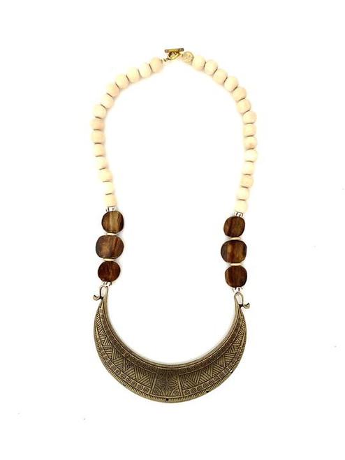 Tribal Collar Necklace - Cream/Bronze