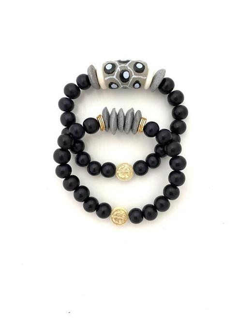 Bracelet Stack - Black/Gray