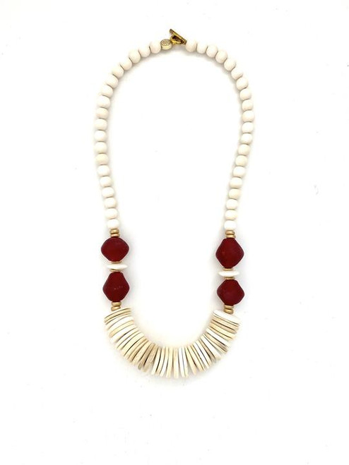 Tumbled Wood Necklace - White/Red