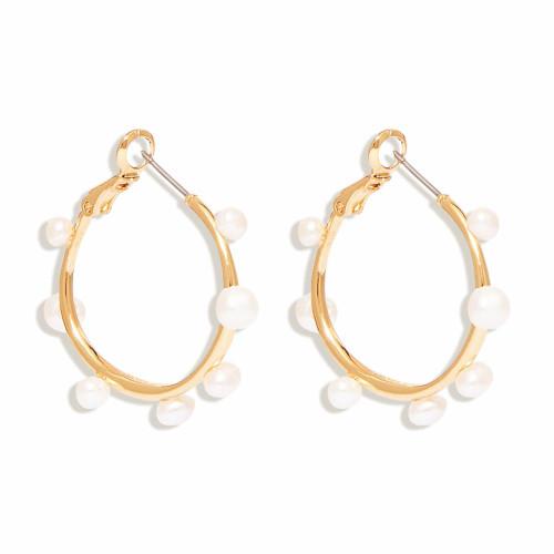 Mini Isla Pearl Hoop - White Gold