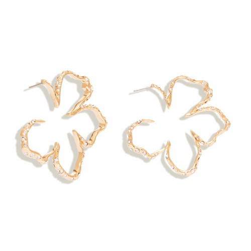 Mini Simone Sculptural Floral Hoop Earring