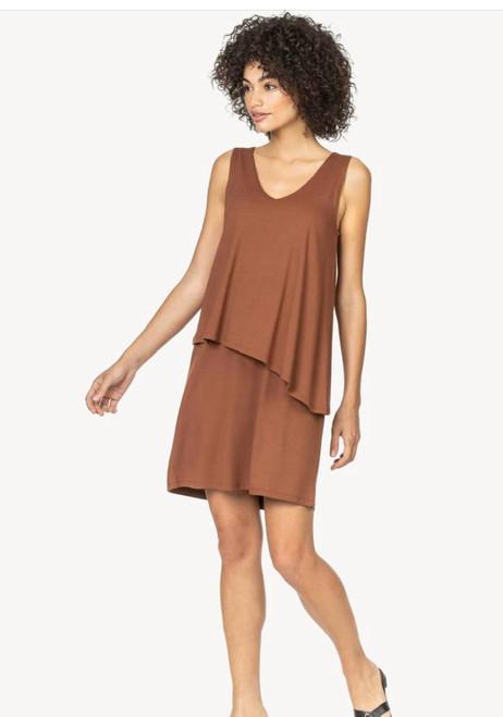 Double Layer V Neck Dress - Brick