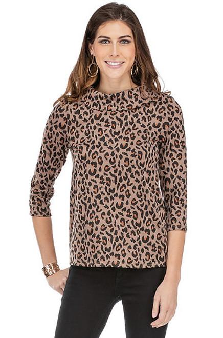 Ponte Knit Button Top - Leopard