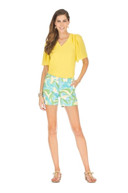 V-Neck Flutter Sleeve Top - Lemon
