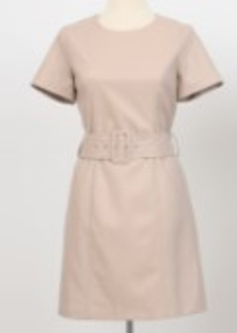 S/S Faux Leather Belted Dress - Beige