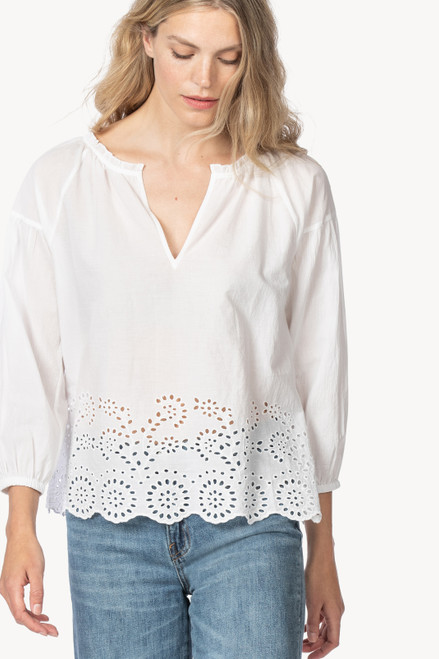 Sleeve Split Neck with Ruffle - White