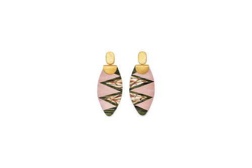 Feather Drop Earring  - Electric Rouge
