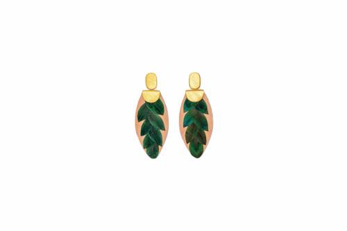 Feather Drop Earring  - Verde