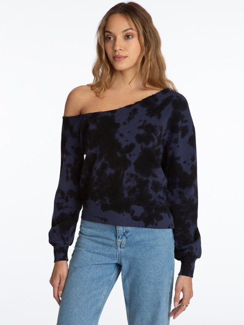 One Shoulder Tie Dye Pullover - Indigo