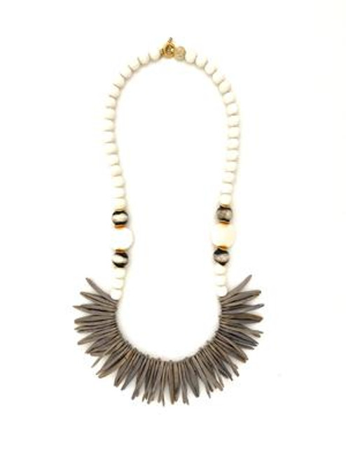 Coconut Wood Necklace - White/Grey